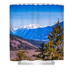Looking To Mazama From Sun Mountain Shower Curtain by Omaste Witkowski