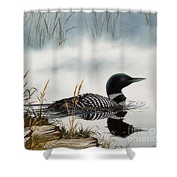 Loons Misty Shore Shower Curtain by James Williamson