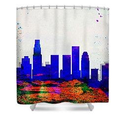 Los Angeles City Skyline Shower Curtain by Naxart Studio
