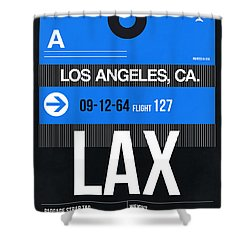 Los Angeles Luggage Poster 3 Shower Curtain by Naxart Studio