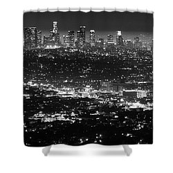 Los Angeles Skyline At Night Monochrome Shower Curtain by Bob Christopher
