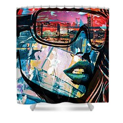 Los Angeles Skyline Shower Curtain by Corporate Art Task Force