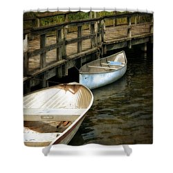 Lost Lake Boardwalk Shower Curtain by Michelle Calkins