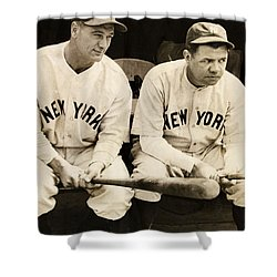 Lou Gehrig And Babe Ruth Shower Curtain by Bill Cannon