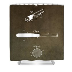 Louisville Slugger Patent Shower Curtain by Dan Sproul