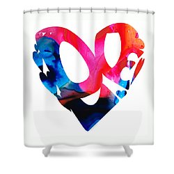 Love 17- Heart Hearts Romantic Art Shower Curtain by Sharon Cummings