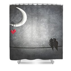 Love Birds Shower Curtain by Oddball Art Co by Lizzy Love