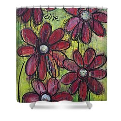 Love For Five Daisies Shower Curtain by Laurie Maves ART