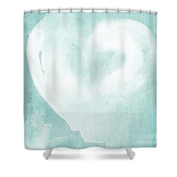 Love In Aqua Shower Curtain by Linda Woods