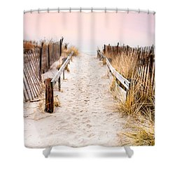 Love Is Everything - Footprints In The Sand Shower Curtain by Gary Heller