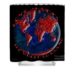 Love Makes The World Go Round 2 Shower Curtain by Andee Design