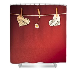Love On The Line Shower Curtain by Jan Bickerton