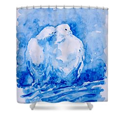 Love  Shower Curtain by Zaira Dzhaubaeva