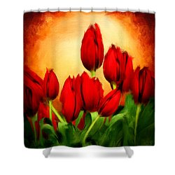 Lover's Hearts Shower Curtain by Lourry Legarde