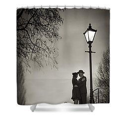 Lovers Say Goodbye Under A Streetlamp Shower Curtain by Lee Avison