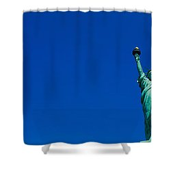 Low Angle View Of Statue Of Liberty Shower Curtain by Panoramic Images