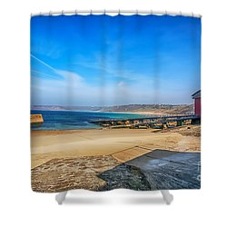 Low Tide At Sennen Cove 2 Shower Curtain by Chris Thaxter