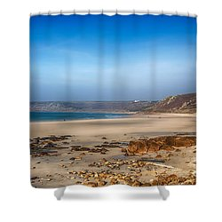 Low Tide At Sennen Cove Shower Curtain by Chris Thaxter