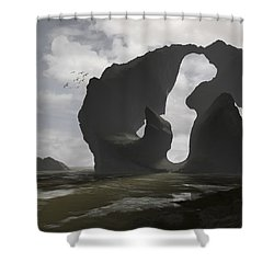 Low Tide Shower Curtain by Cynthia Decker