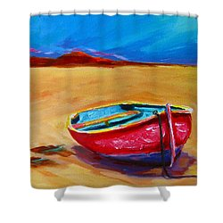 Low Tides - Landscape Of A Red Boat On The Beach Shower Curtain by Patricia Awapara