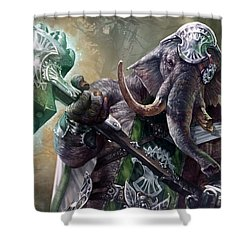 Loxodon Smiter Shower Curtain by Ryan Barger