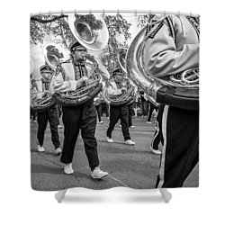 Lsu Tigers Band Monochrome Shower Curtain by Steve Harrington