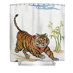 Lucky Tiger Shower Curtain by Carol Oufnac Mahan