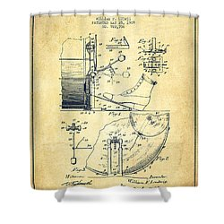 Ludwig Foot Pedal Patent Drawing From 1909 - Vintage Shower Curtain by Aged Pixel