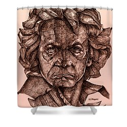 Ludwig Van Beethoven Shower Curtain by Derrick Higgins