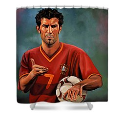 Luis Figo Shower Curtain by Paul Meijering