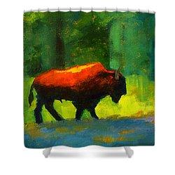 Lumbering Shower Curtain by Nancy Merkle