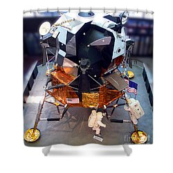 Lunar Module Shower Curtain by Kevin Fortier