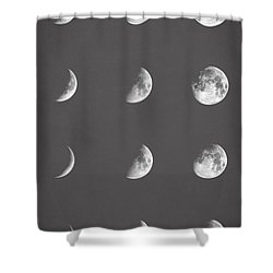 Lunar Phases Shower Curtain by Taylan Soyturk