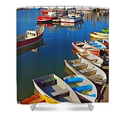 Lunch At The Harbor Shower Curtain by Joann Vitali