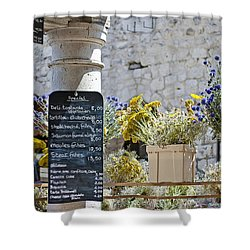 Lunch Time On Market Day Shower Curtain by Georgia Fowler