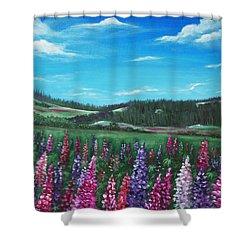 Lupine Hills Shower Curtain by Anastasiya Malakhova