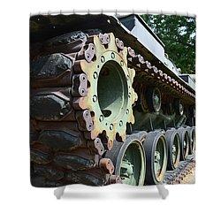 M60 Patton Artillery Tank Tread Shower Curtain by Luther   Fine Art