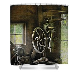 Machine Shop - An Old Drill Press Shower Curtain by Mike Savad