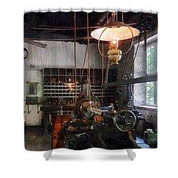 Machine Shop With Lantern Shower Curtain by Susan Savad