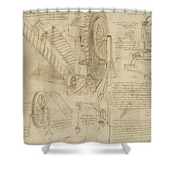 Machines To Lift Water Draw Water From Well And Bring It Into Houses From Atlantic Codex  Shower Curtain by Leonardo Da Vinci