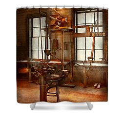 Machinist - A Lone Grinder  Shower Curtain by Mike Savad