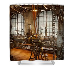 Machinist - The Crowded Workshop Shower Curtain by Mike Savad