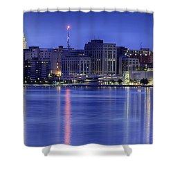 Madison Skyline Reflection Shower Curtain by Sebastian Musial