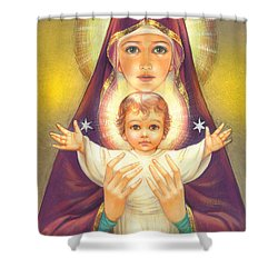 Madonna And Baby Jesus Shower Curtain by Zorina Baldescu