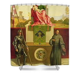 Madonna And Child With Saints Liberale And Francis Shower Curtain by Giorgione