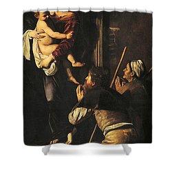 Madonna Dei Pellegrini Or Madonna Of Loreto Shower Curtain by Michelangelo Merisi da Caravaggio