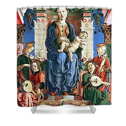 Madonna With The Child Enthroned  Shower Curtain by Cosme Tura