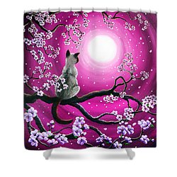 Magenta Morning Sakura Shower Curtain by Laura Iverson