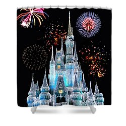 Magic Kingdom Castle In Frosty Light Blue With Fireworks 06 Shower Curtain by Thomas Woolworth