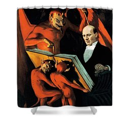 Magician Harry Kellar And Demons  Shower Curtain by Jennifer Rondinelli Reilly - Fine Art Photography